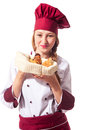 Female Chef with croissant Stock Photography