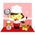 Female chef ready to cook meal Royalty Free Stock Photo