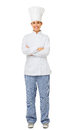 Female chef standing arms crossed full length portrait of happy isolated on white background vertical shot Stock Image