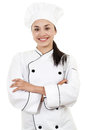 Female chef stock image of or baker isolated on white background Royalty Free Stock Image