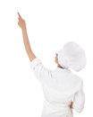Female chef in white workwear showing something Stock Photo