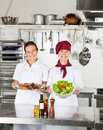 Female chefs with dishes at kitchen counter portrait of happy their standing Stock Image