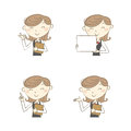 Female clerk with various poses Royalty Free Stock Photo