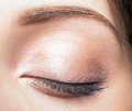 Female closed eye and brows with day makeup closeup shot of Royalty Free Stock Image