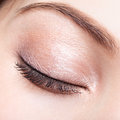 Female closed eye and brows with day makeup closeup shot of Stock Image