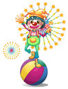 A female clown above the colorful ball illustration of on white background Stock Photography