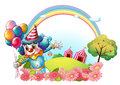 A female clown at the hill with a rainbow illustration of on white background Royalty Free Stock Images