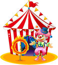 A female clown juggling in front of the tent illustration on white background Stock Images