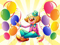 A female clown sitting surrounded with colorful balloons illustration of on white background Royalty Free Stock Photos