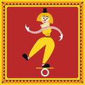Female clown teetering on the coil funny equilibrist balances flat style vector illustration Stock Photos