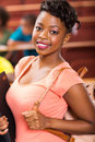 Female college student beautiful young african looking to the camera Royalty Free Stock Photography