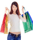 Female with colour shopping bags over white young Royalty Free Stock Photos