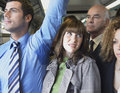 Female Commuter Standing by Man's Wet Armpit In Train Royalty Free Stock Photo