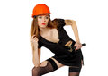 Female construction worker against a white background Stock Photos