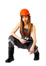 Female construction worker against a white background Royalty Free Stock Image