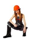 Female construction worker against a white background Stock Image