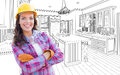 Female Construction Worker With Hard Hat, Gloves and Goggles In Royalty Free Stock Photo