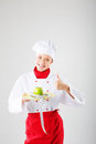 Female cook concept dietary on a neutral background Royalty Free Stock Image