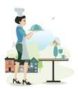 Female cook foods are billing the city as a backdrop Stock Image