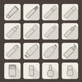 Female cosmetic and hygiene beauty treatment product packages icon set vector illustration Royalty Free Stock Photo