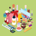 Female Cosmetics Make-Up Set with Powder, Eyeshadow and Lipstick. Isometric flat 3d illustration