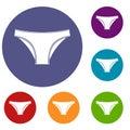 Female cotton panties icons set Royalty Free Stock Photo