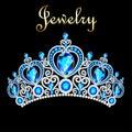 female crown, tiara, with blue precious stones