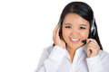 Female customer service representative or call centre worker or operator or support staff speaking with head set closeup portrait Stock Images