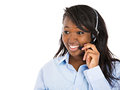 Female customer service representative with hands free device Royalty Free Stock Photo