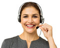 Female customer service representative talking on headset portrait of happy over white background horizontal shot Stock Image