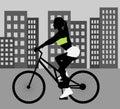Female Cyclist Black Silhouette