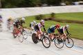 Female Cyclists Motion Blur In Race At Atlanta Velodrome Royalty Free Stock Photo
