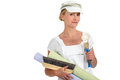 Female decorator preparing to wallpaper Stock Image