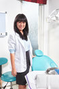 Female dentist young asian in the clinic looking to camera Royalty Free Stock Photos