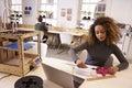 Female Designer Measuring Model In 3D Design Studio