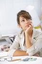 Female designer thinking