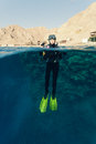 Female diver ready to dive Royalty Free Stock Photos