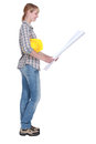 Female diy fan with plans Royalty Free Stock Photo