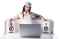 Female dj with music player speakers and laptop seductive young white headphones cap posing isolated on white background Stock Images