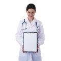 Female doctor assistant scientist in white coat over  isolated background Royalty Free Stock Photo
