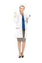 Female doctor with her finger up attractive Stock Image