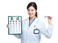 Female doctor hold with eye chart and glasses Royalty Free Stock Photo
