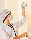 Female doctor with iv drip. Royalty Free Stock Photography
