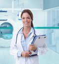 Female doctor in MRI room of hospital Royalty Free Stock Photo