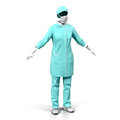 Female doctor or nurse uniform isolated on white 3D Illustration Royalty Free Stock Photo