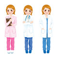 Female doctor posing beautiful young on three different poses and different color uniform Stock Photos