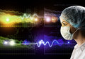 Female doctor in protective mask and glasses image of a behind the abstract background Royalty Free Stock Photos