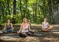 Female doing balance exercises in harmony of nature