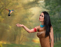 Female druid fantasy style portrait of a in a fairy forest Royalty Free Stock Photography