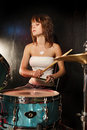 Female drummer Stock Image
